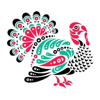 Szczęśliwego dziękczynienia piękny tatuaż z indyka, ilustracja ozdoba symbol