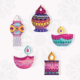 Szczęśliwego festiwalu diwali, szczegółowe ikony lampionów i lamp diya