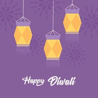 Szczęśliwego festiwalu diwali, wiszące tradycyjne lampy dekoracji mandale fioletowe tło.
