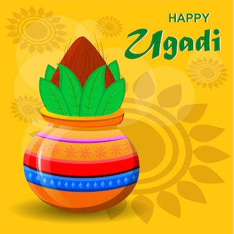 Szczęśliwego hinduskiego nowego roku ugadi i gudi padwa