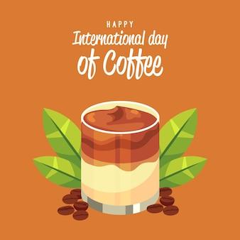 Szczęśliwego międzynarodowego dnia kawy frappe