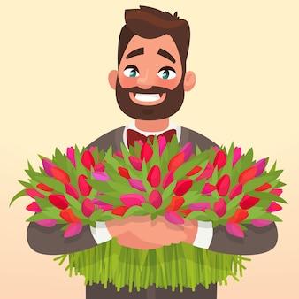 Szczęśliwego międzynarodowego dnia kobiet. mężczyzna z kwiatami. element karty z pozdrowieniami w dniu jego urodzin.