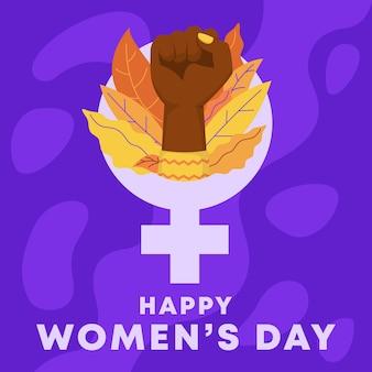 Szczęśliwego międzynarodowego dnia kobiet. podniesiona pięść kobiety obejmująca moc kobiet.
