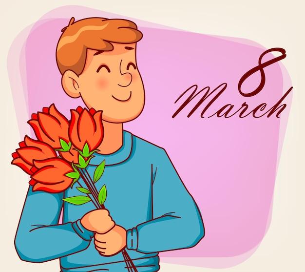 Szczęśliwego międzynarodowego dnia kobiet. postać z kreskówki zabawny człowiek trzyma bukiet tulipanów