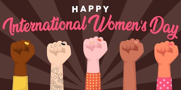 Szczęśliwego międzynarodowego dnia kobiet. uniesione pięści kobiety obejmując siłę kobiet.