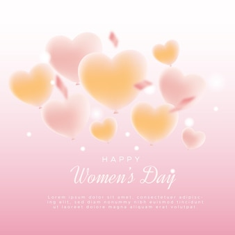 Szczęśliwego międzynarodowego dnia kobiet z balonami miłości