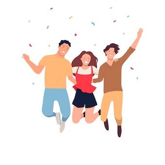 Szczęśliwego międzynarodowego dnia młodzieży. mężczyzna i kobieta skaczą razem z radości. mieszkanie na białym tle w kolorze białym