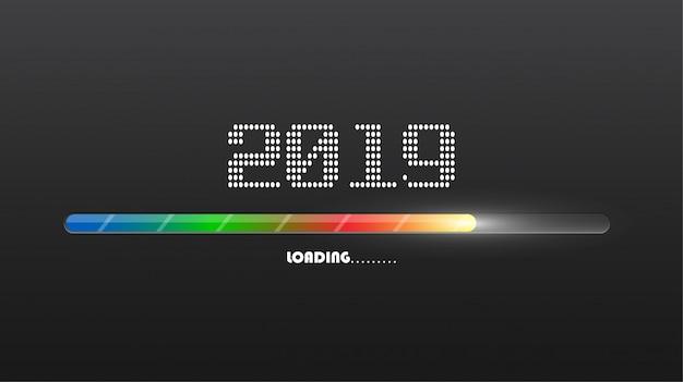 Szczęśliwego nowego 2019 roku. karta pozdrowienia. kolorowy wzór.