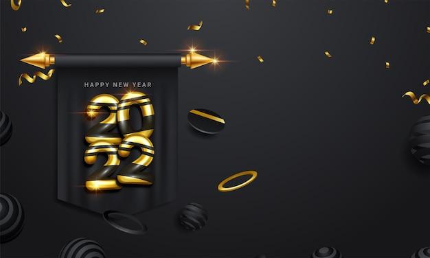 Szczęśliwego nowego 2022 roku. wakacyjna ilustracja wektorowa złotych metalicznych liczb 2022