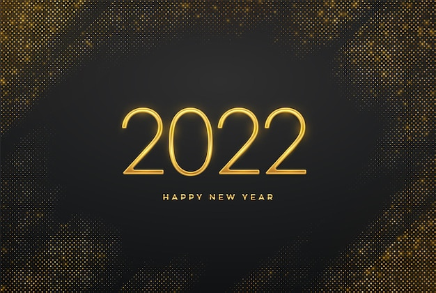 Szczęśliwego nowego 2022 roku. złote metaliczne luksusowe numery 2022 na błyszczącym tle. realistyczny znak dla karty z pozdrowieniami. pękające tło z błyszczy. świąteczny plakat lub baner. ilustracja wektorowa.