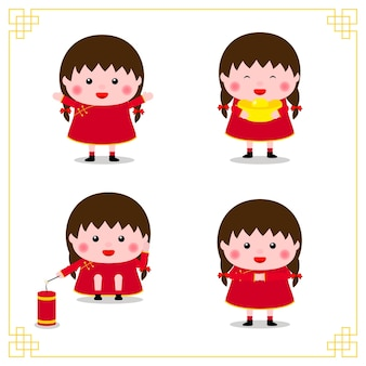 Szczęśliwego nowego chińskiego roku. różnorodność kolekcji chińskich pozycji dla dzieci.