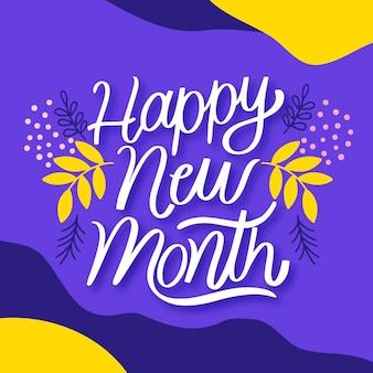 Szczęśliwego nowego miesiąca napis z ręcznie rysowane elementy