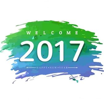 Szczęśliwego nowego roku 2017 tło akwarela