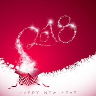 Szczęśliwego nowego roku 2018 ilustracja na czerwonym tle z pudełko i typografia design