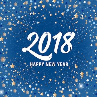 Szczęśliwego nowego roku 2018 napis i gwiazd