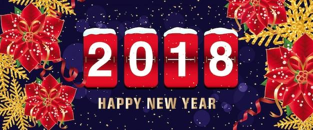Szczęśliwego nowego roku 2018 napis, tablica wyników