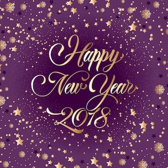 Szczęśliwego nowego roku 2018 napis, złotych gwiazd