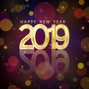 Szczęśliwego nowego roku 2019 3d projekt czcionki na złotym tle.