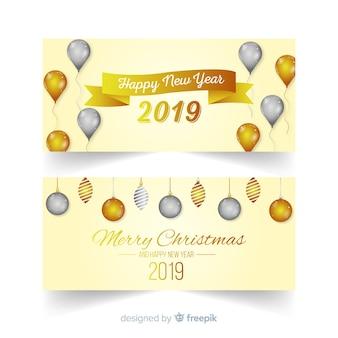 Szczęśliwego nowego roku 2019 banery