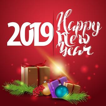 Szczęśliwego nowego roku 2019 - czerwony nowy rok kartkę z życzeniami z prezentami