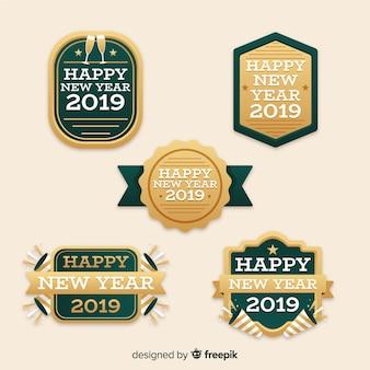 Szczęśliwego nowego roku 2019 etykiet