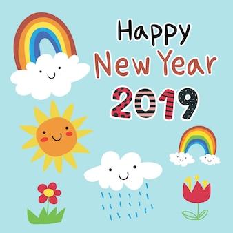 Szczęśliwego nowego roku 2019 karta wektor wzór