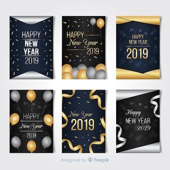 Szczęśliwego nowego roku 2019 kolekcja kart
