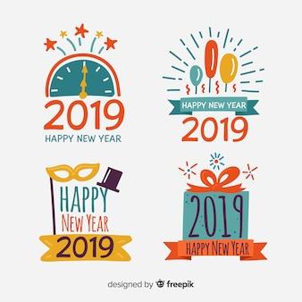 Szczęśliwego nowego roku 2019 kolekcji etykiet