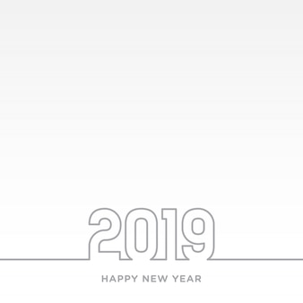 Szczęśliwego nowego roku 2019 motyw karty. szara linia na białym tle wektor