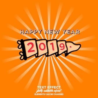 Szczęśliwego nowego roku 2019 naklejki