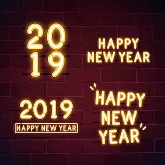 Szczęśliwego nowego roku 2019 neon wektor zestaw znak