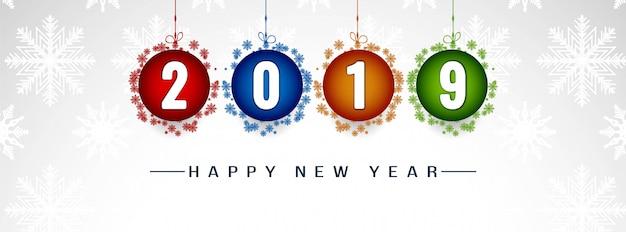 Szczęśliwego nowego roku 2019 ozdobny szablon transparent