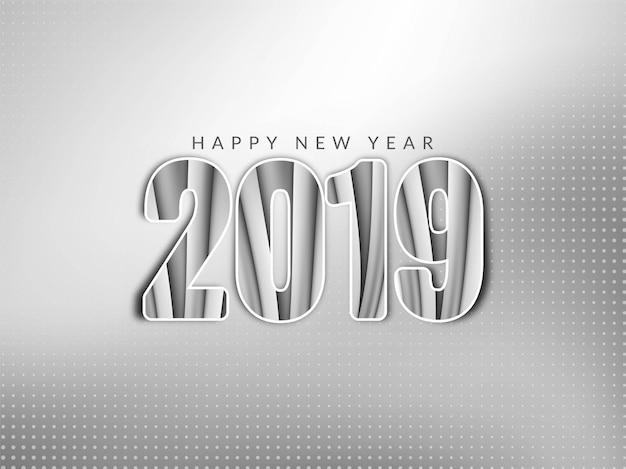 Szczęśliwego nowego roku 2019 pozdrowienia szare tło