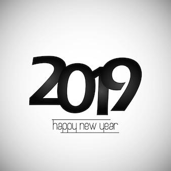 Szczęśliwego nowego roku 2019 projekt z białym tłem