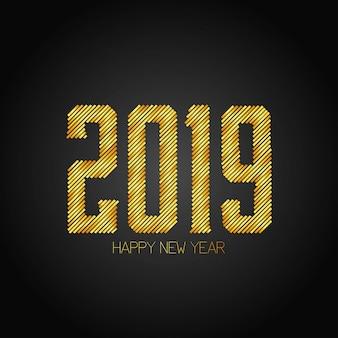 Szczęśliwego nowego roku 2019 projekt z ciemnym tłem