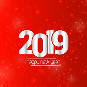 Szczęśliwego nowego roku 2019 projekt z czerwonym tłem