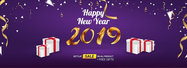 Szczęśliwego nowego roku 2019 sprzedaż baner reklamowy szablon