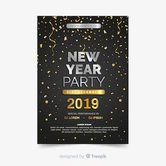Szczęśliwego nowego roku 2019 strona ulotki