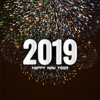Szczęśliwego nowego roku 2019 stylowy pozdrowienie tło fajerwerków