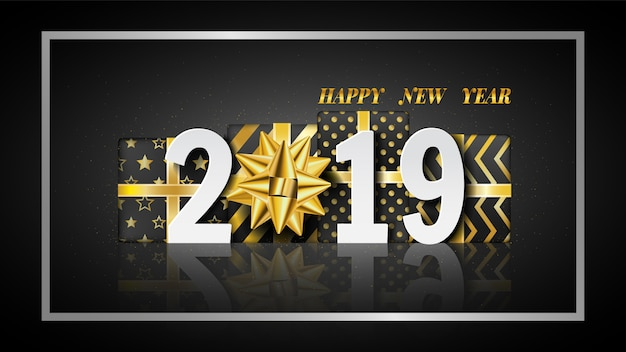 Szczęśliwego nowego roku 2019 tło z złote pudełko.