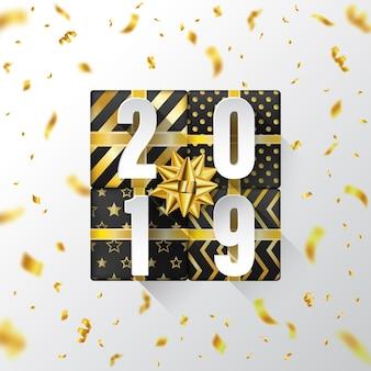 Szczęśliwego nowego roku 2019 tło z złote wstążki latające.