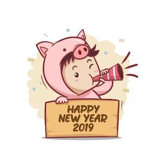 Szczęśliwego nowego roku 2019 z charakterem chłopca