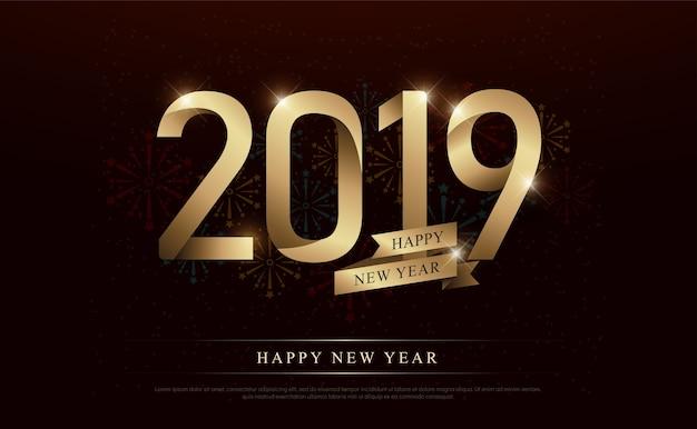 Szczęśliwego nowego roku 2019 złoty numer i złote wstążki