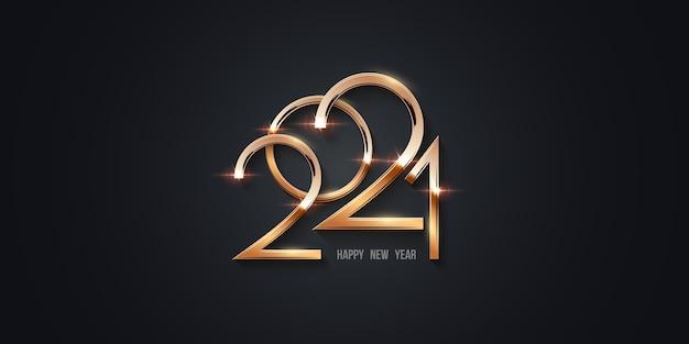 Szczęśliwego nowego roku 202, złote cyfry świecące w świetle z iskierkami