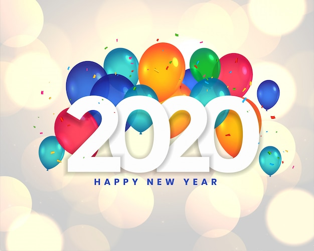 Szczęśliwego nowego roku 2020 balony celebracja karta projekt