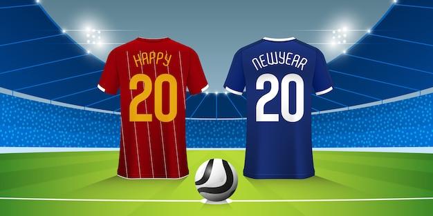 Szczęśliwego nowego roku 2020 banner z koszulką piłkarską lub zestawem piłkarskim na stadionie piłkarskim