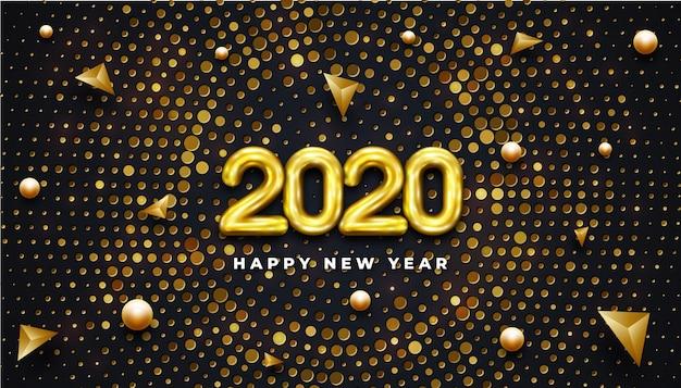 Szczęśliwego nowego roku 2020. błyszczący żółty dmuchany dwa tysiące dwudziestu 2020.