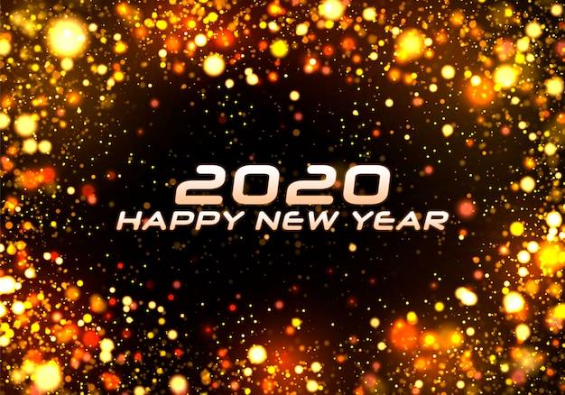 Szczęśliwego nowego roku 2020. boże narodzenie blask bokeh.
