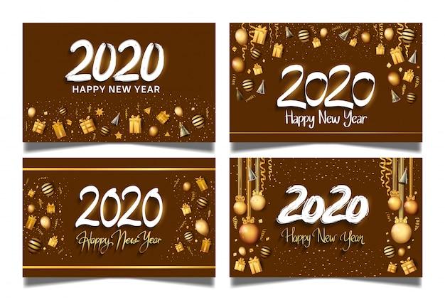 Szczęśliwego nowego roku 2020 brązowe tło zestaw banner