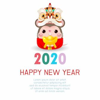 Szczęśliwego nowego roku 2020. chiński nowy rok. rok szczura. kartkę z życzeniami szczęśliwego nowego roku z cute little rat ze lion dance head trzymając chińskie złoto